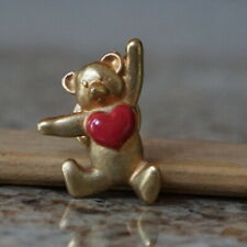 - Red Heart on Chest Gold Tone Metal Bear Pin