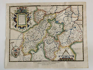 Saxton's Map Northamptonshire, Bedfordshire,Cambridge,Rutland 1576 Lithograph