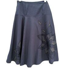 Monsoon A-Line Flippy Skirt Sz 10 Blue Floral  Knee Length Cotton Summer Casual