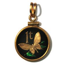 Papua New Guinea Enameled Jewelry Coin Pendant Butterfly 1 Toea 1975 w/Bezel