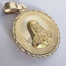 "2 sided 14k yellow gold Jesus virgin Mary pendant charm diamond cut 1.25"" long"