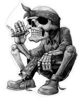 Gangster Hip-Hop Aufkleber Sticker Rap Musik Skelett Skull Schädel ca. 13x10 cm