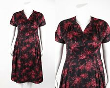 Vtg Irma Hill c.1940's Floral Print Rayon V Neck Day - Night Shift Dress L / Xl