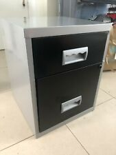2 Drawer Metal Filling Cabinet - Silver and Black Office Storage Drawer Cabinet