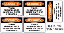 SECURITY VIDEO SURVEILLANCE IN USE VINYL STICKER 50mm x 70mm / Decal / Sign x 5