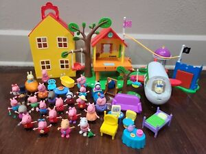 Peppa Pig Toy Lot Deluxe House Playset - Figures, Treehouse, Plane and Furniture