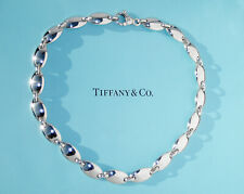 Tiffany & Co Sterling Silver Oval Pebble Link Choker Necklace 18 Inch
