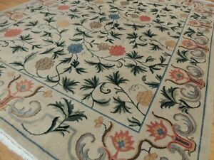 8x10 Modern Floral Oriental area rug hand-knotted Ivory Green Blue Gray Rust