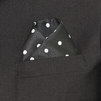 Men's Pocket Square Silver White Polka Dot Dress Suit Handkerchief Black Hanky