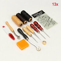 13x Leather Craft Hand Stitching Sewing Tool Thread Awl Waxed Thimble Kit New