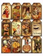 12 Primitive Halloween Hang Tags Scrapbooking Paper Crafts (22)