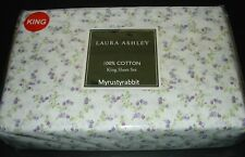 Laura Ashley Peggy King Sheet Set 4 pc - 100% Cotton - White with tiny flowers