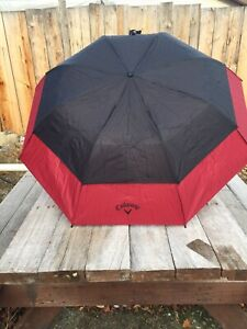 "Callaway Golf 36"" Double Canopy Umbrella - Red/Black"