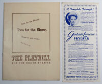 Two For The Show A New Revue Booth Theatre Playbill w Skylark Flyer 1940