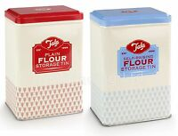 Set of 2 Plain & Self Raising Flour Storage Tins Kitchen Canister Containers