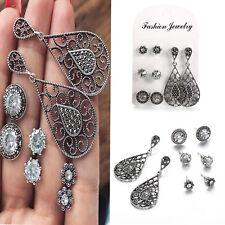 4 Pairs/Set Women Long Flower Crystal Earring Retro Black Zircon Stud Earrings