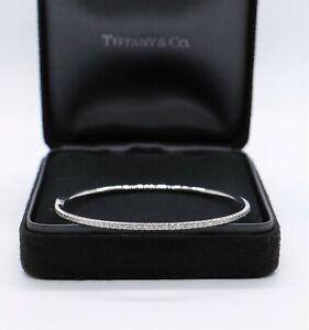 $6,200 Tiffany & Co Metro 18k White Gold Diamond Hinged Bangle Bracelet Medium