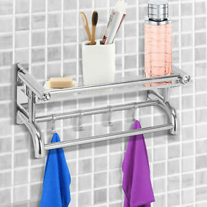 Stainless Steel Double Chrome Towel Rack Rail Holder Shelf Wall Mounted Bathroom