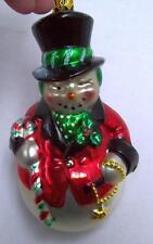 "Winking Snowman Christmas XMAS Tree ORNAMENT Mercury Handcrafted GLASS Lg 5.5"""