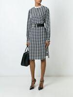 NWT $1.4K Salvatore Ferragamo Houndstooth Printed Silk Dress, size IT 40