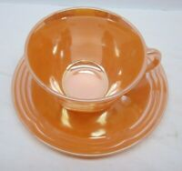Vintage Fire King Glass Peach Luster Orange Cup and Saucer