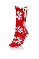 LADIES GIRLS COSY WARM NORDIC DESIGN STITCH DETAIL BOOT SLIPPER SOCKS