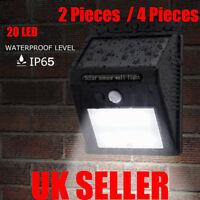 2-4 LED Solar Powered PIR Motion Sensor Light Outdoor Garden Security Lights UK