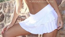 Double Ruffle White Stretch Lycra Booty Skirt/Beach Cover Up/Dancer/Made in usa
