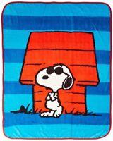 "Peanuts Just Be Cool Sunglasses Snoopy Plush Fleece Blanket Throw 46"" x 60"" NEW"