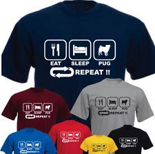 Eat Sleep Pug Repeat Dog New Funny T-shirt Present Gift Birthday