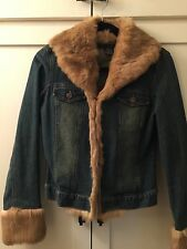 EUC Jean Jacket Sheri Bodell with Rabbit Fur Trim XS
