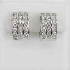 18K White Gold 1.75 ct Diamond Huggies Earrings 3 Row Hoops Wedding Gift F VS