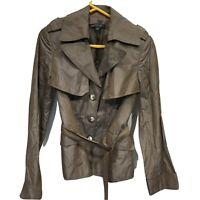 Lafayette 148 Jacket Trench Coat Size 2 Vegan Leather Belted Lightweight women's