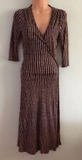 Coast Stunning Navy & Brown 100% Silk Jersey Print Spotted Belted Wrap Dress 8