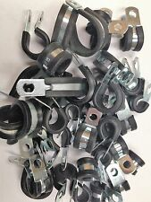 ASSORTED PACK RUBBER LINED P CLIPS ZINC PLATED  QTY 50