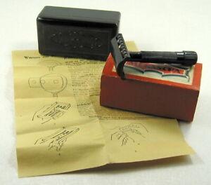 Antique Merascha Double-Edge Safety Razor Bakelite Case w/Sharpener Instructions