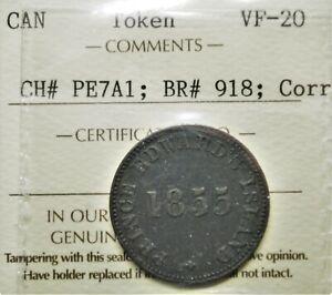 1855 Prince Edward Island Token PE-7A1 graded VF-20 *Corrosion