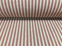 No.149 Terracotta /& cream striped upholstery fabric//material  140 cm