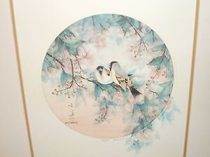 "JOHN CHENG ""FINCHES"" IN BLOSSOM TREE SIGNED LITHOGRAPH"