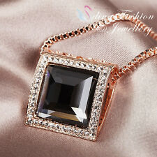 18K Rose Gold Plated Simulated Crystal Stunning Large Square Cut Grey Necklace