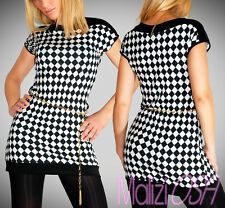 Miniabito Vestitino Scacchi quadretti Donna Bianco Nero Maglia Vestito Dress