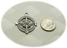 Large Compass Shaped Lead Free Pewter Charm - Great Detail