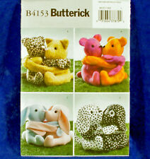 Butterick Craft 4153 Soft Animal Hugging 4 Pair dogs bunnies cats Sewing Pattern