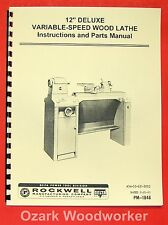 """ROCKWELL 12"""" Old Style Variable Speed Wood Lathe Manual 0592"""