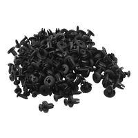 100 Stueck Kotfluegel Schwarzer Kunststoff Nieten Verschluss 6mm Loch J2T9