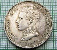 SPAIN ALFONSO XIII 1905 2 PESETAS, SILVER HIGH GRADE TONED