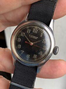 Vintage E.Gübelin Military Style Mens Watch Steel Swiss 31mm +box