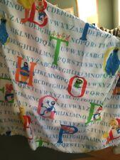 Sesame Street Twin Flat Bed Sheet Muppets Alphabet Letters Vintage Cookie  Elmo
