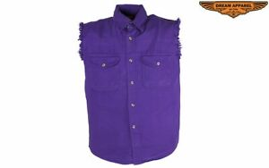 Men's Motorcycle Denim Purple Sleeveless Shirt with Buttoned Front Closure