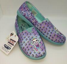 Skechers NWT Sz 4 Bobs Memory Foam Cat Unicorn Purple Blue Slide On Girl Shoes